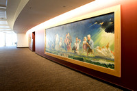 A mural by artist Robert Oliver Skemp hangs in the BYU-I Center lobby.