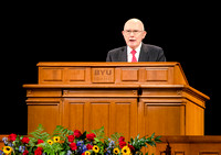 Elder Dallin H. Oaks speaks at devotional in the BYU-Idaho Center.  BYU-Idaho photo by Leanna Davidson.