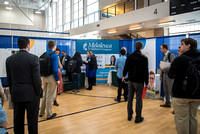 Booths fill the I-Center Courts where Businesses and Graduate Schools wait to meet with BYU-I students at the Career Fair.