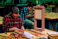 Student works diligently on a piece for Woodworking. Dec. 1999.
