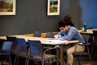Student studying at the Manwaring Center.