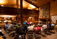 Retreat for teachers at the Sky Mountain Lodge in Victor, Idaho. Participants share a favorite book.