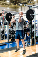Biology Instructor Joseph Anderson training in the BYU-Idaho Fitness Center.