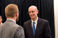After the press conference, President Eyring speaks to some attendants.