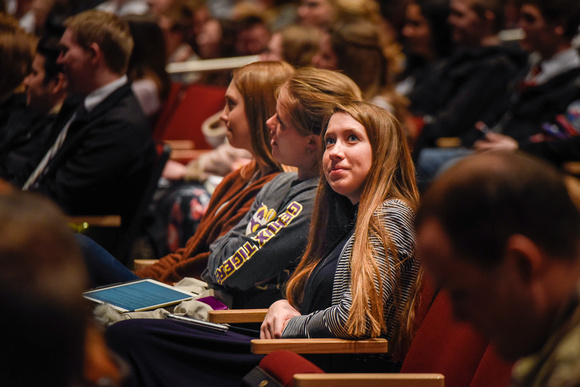 Students attend first Devotional of Winter Semester.
