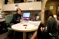 Diane Soelberg, Brigham Young University-Idaho's Music Deparment's Chair, speaks with a student.