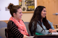 Students laugh in Brother Robert's Sociology class during the 2014 Spring Semester.