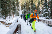 Eric Ward, a mechanical engineering major, goes ice climbing with Outdoor Activities.