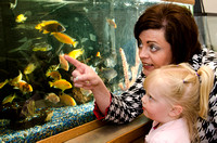 Suanne Ellsworth, known as the Preschool Lady shows Olivia the fish in her office.