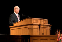 Elder Don R. Clarke, Emeritus General Authority, speaks to BYU-Idaho students at devotional. Photo by Ryan Chase