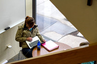 A student finds a quiet place to study on the BYU-I campus during finals week.